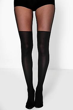 Tia Knee Tights With Smoothing Tummy Panel