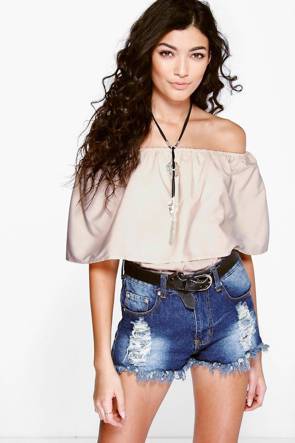 Cara Woven Frill Off The Shoulder Top
