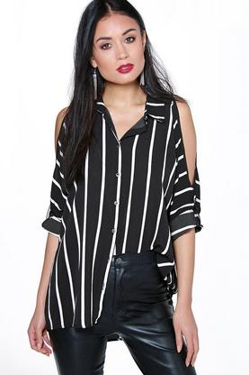 Anisha Oversized Split Sleeve Stripe Shirt