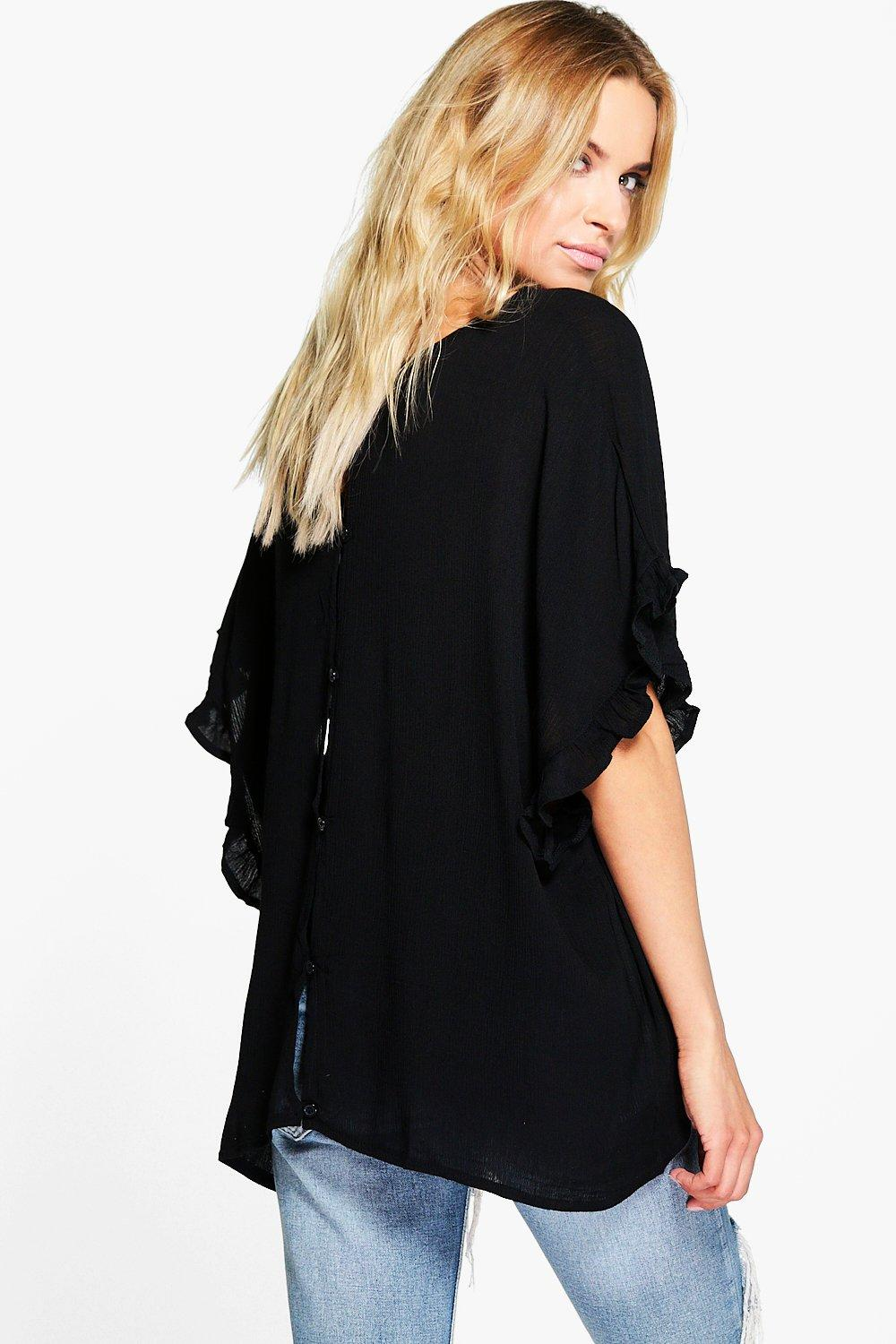 Casey Ruffle Detail Button Back Woven Top