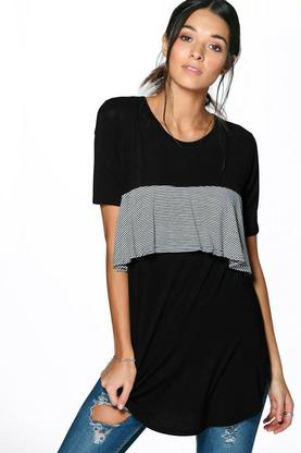 Florence Striped Ruffle Panel T-Shirt