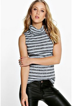 Zoe Striped Rib Roll Neck Top