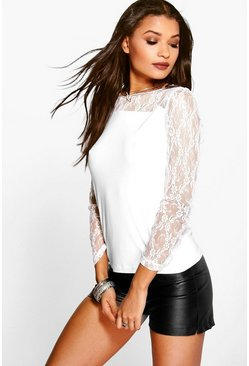 Carol Lace Detail Long Sleeve Top