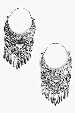 Paige Boho Hoop Earring With Dangle Detail