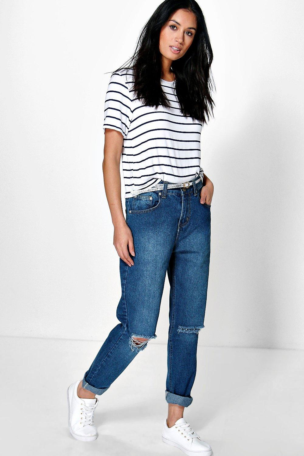 Hatty High Dark Wash Distressed Boyfriend Jeans | Boohoo