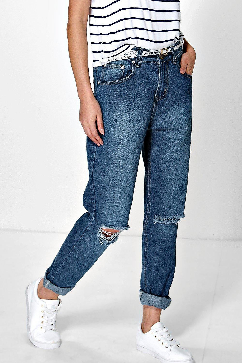 Hatty High Dark Wash Distressed Boyfriend Jeans
