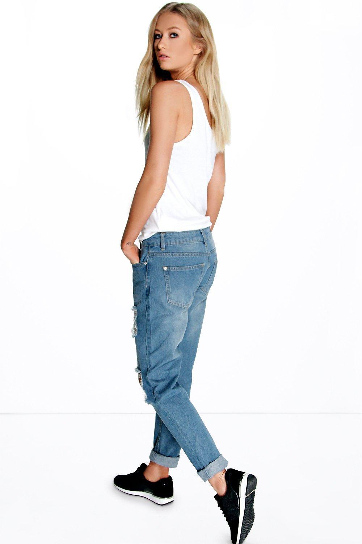 boohoo damen sophie mom jeans mit hohem bund und rissen ebay. Black Bedroom Furniture Sets. Home Design Ideas