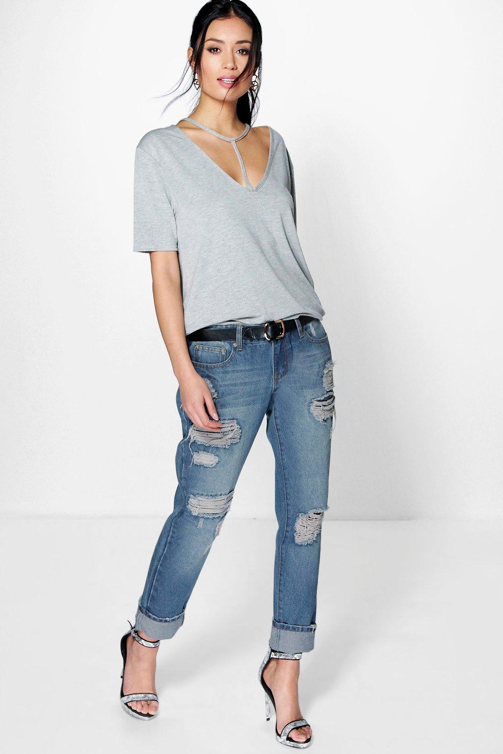 Lara Low Rise Rip Repair And Distress Mom Jeans