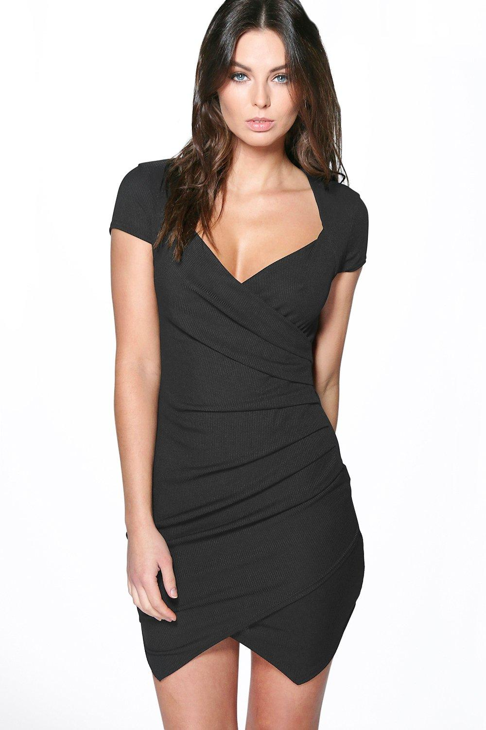 Pavla Ribbed Wrap Bodycon Dress