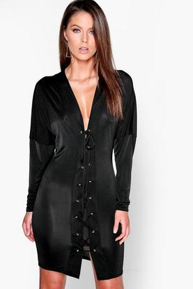 Millie Slinky Lace Up Batwing Bodycon Dress