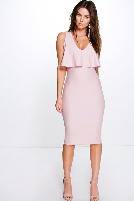 Emiko Plunge Neck Double Layer Midi Dress