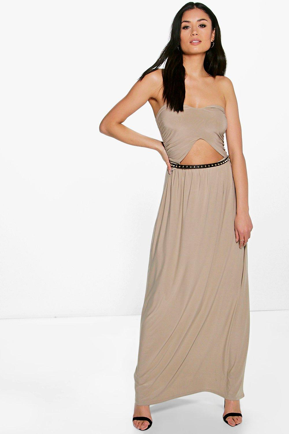 Front Cut Out Bandeau Maxi Dress taupe