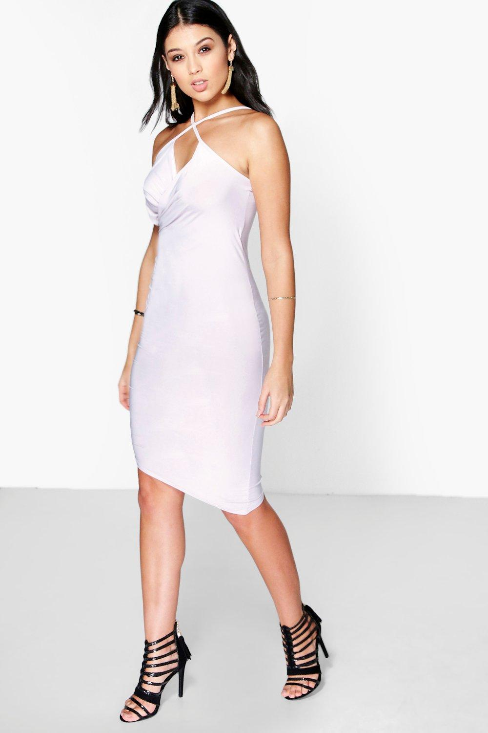 Monique Draped Asymmetric Bodycon Dress