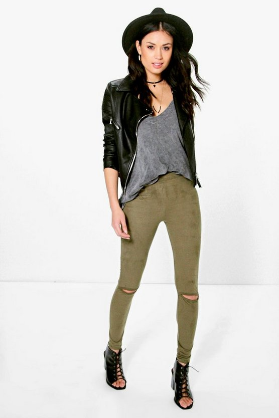 Cleo Suedette Split Knee Leggings