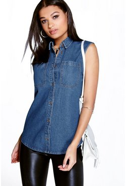 Casey Sleeveless Patch Pocket Denim Shirt