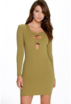 Eleanor Cross Front Long Sleeve Bodycon Dress
