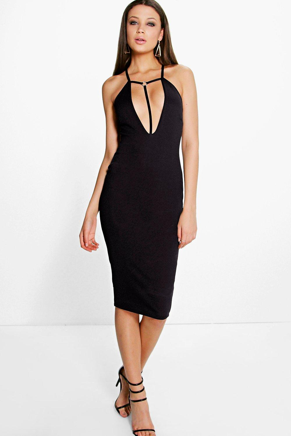 Mara Contrast Harness Detail Plunge Midi Dress