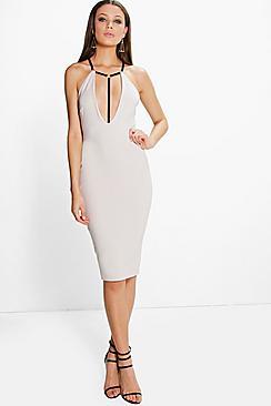 Mara Contrast Harness Detail Plunge Midi Dress