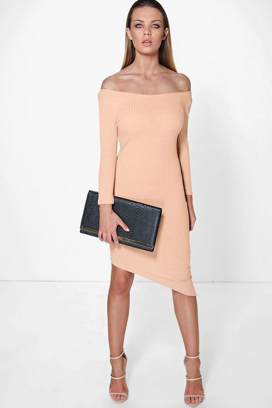 Suzy Off The Shoulder Asymmetric Bodycon Dress