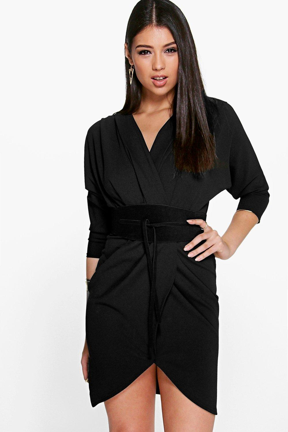 Mulan Suedette Obi belt Wrap Dress