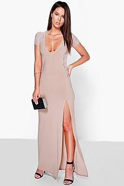 Emma Lace Insert Plunge Maxi Dress