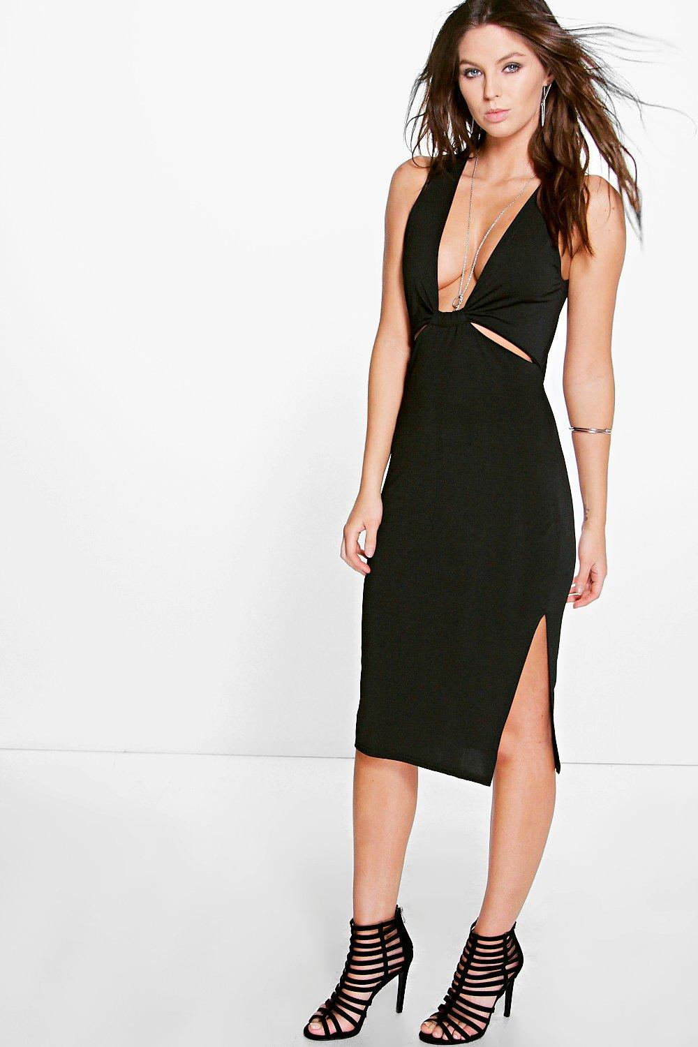 Bella Cut Out Detail Side Split Midi Dress