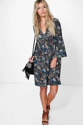 Amy Floral Plunge Neck Skater Dress