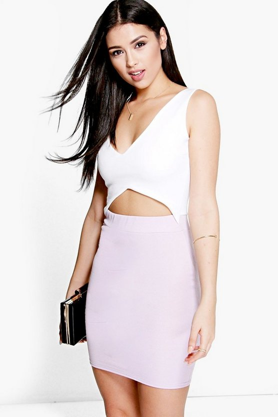 Soph Plunge Neck Cut Out Detail Bodycon Dress