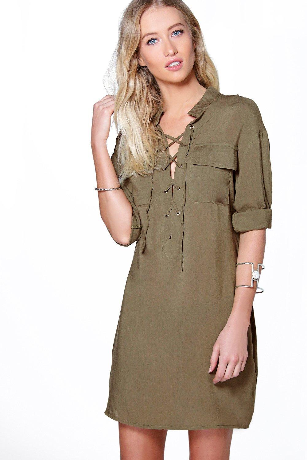 Arianna Lace Up Utility Pocket Shirt Dress