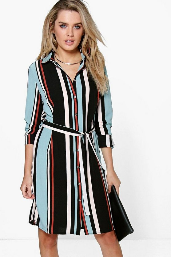 Cassandra Striped Tie Waist Shirt Dress