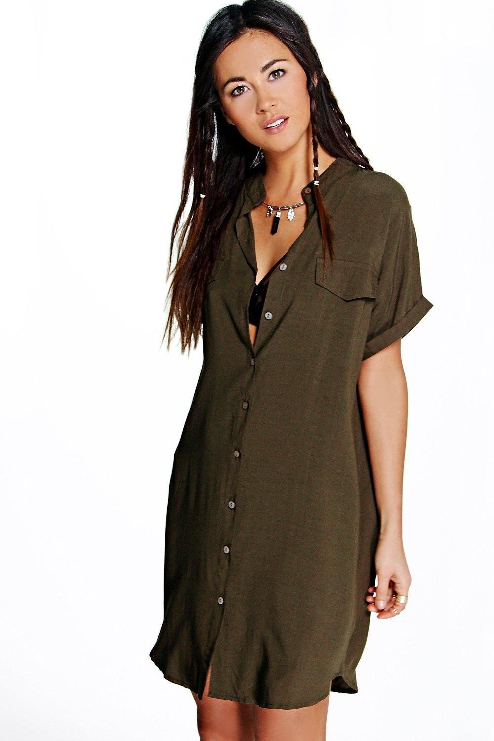 Pocket Detail Sleeveless Shirt Dress  khaki