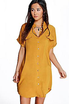 Maeve Pocket Detail Sleeveless Shirt Dress