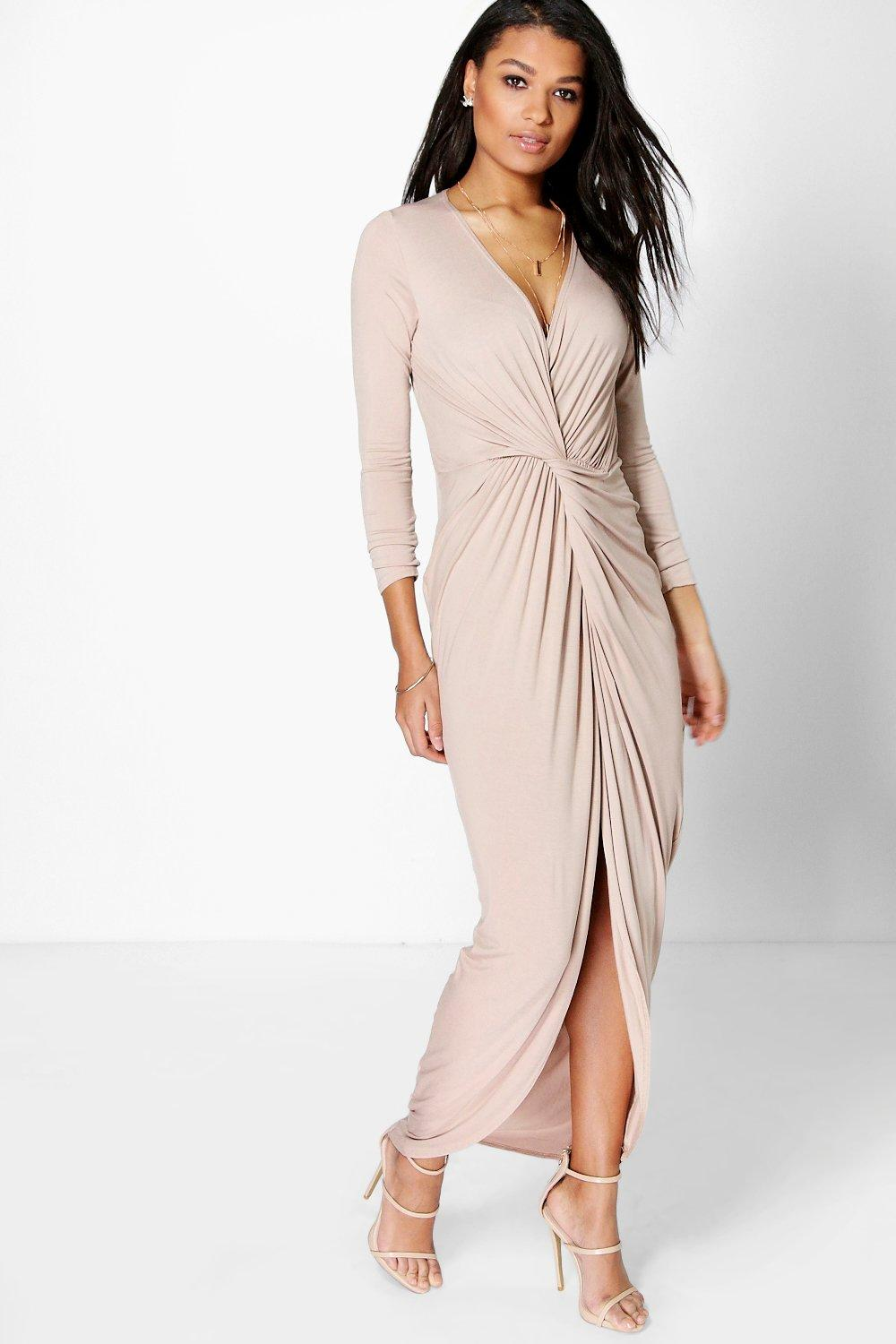Drape Ruched Maxi Dress sand