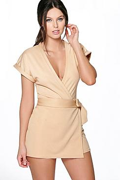 Jane Structured Wrap Belted Ponte Playsuit