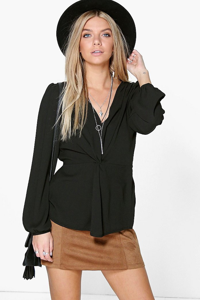 Emma Knot Front Blouson Sleeve Top