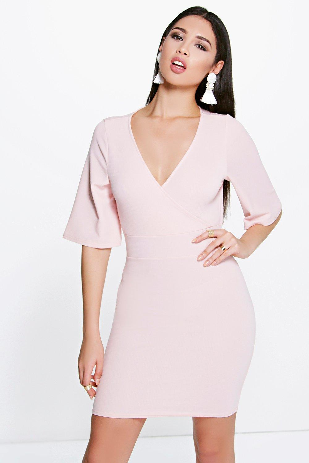 Maddy Wrap Front Kimono Sleeve Bodycon Dress