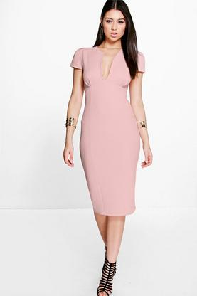 Lauren Cap Sleeve Pleat Detail Midi Dress