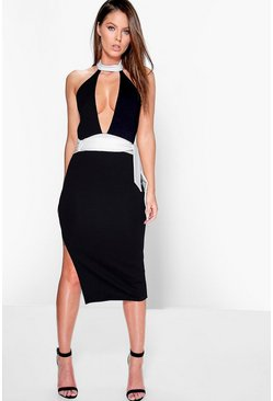 Gigi High Neck Contrast Tie Midi Dress