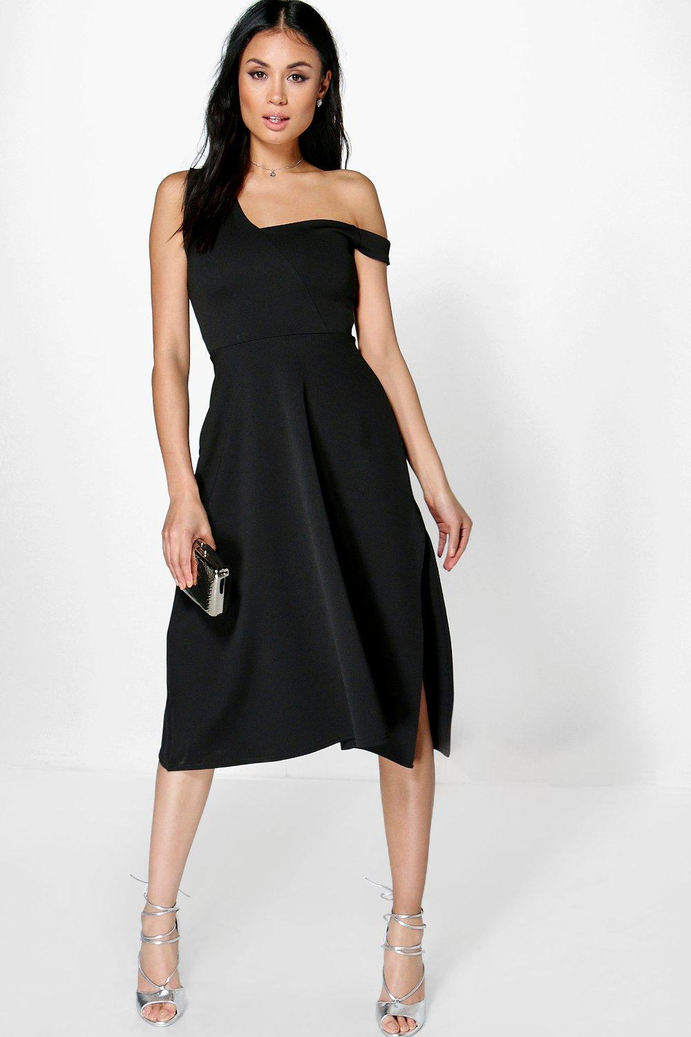 Diana One Shoulder Side Split Midi Skater Dress