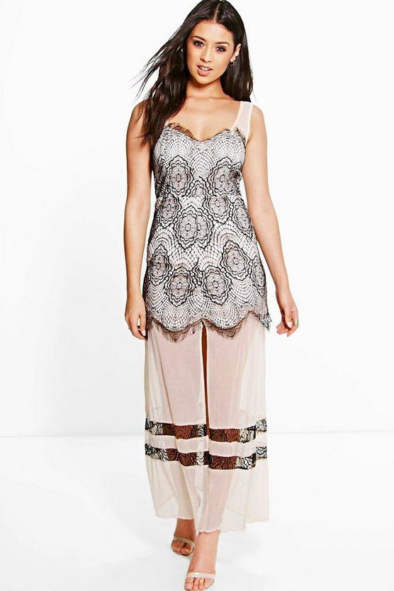 Boutique Gill Lace and Mesh Panelled Maxi Dress
