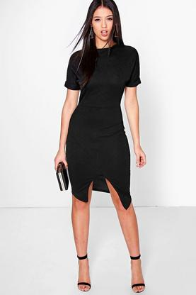 Clarice Crepe Wrap Skirt Detail Fitted Dress