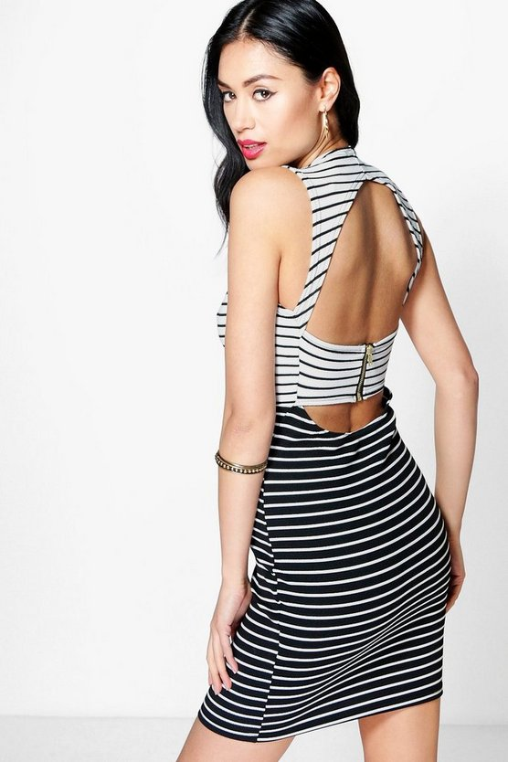 Issy Stripe Contrast Open Back Bodycon Dress