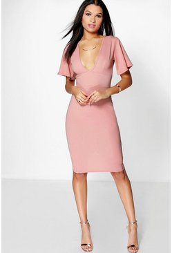 Zoe Textured Plunge Neck Angel Sleeve Midi Dress