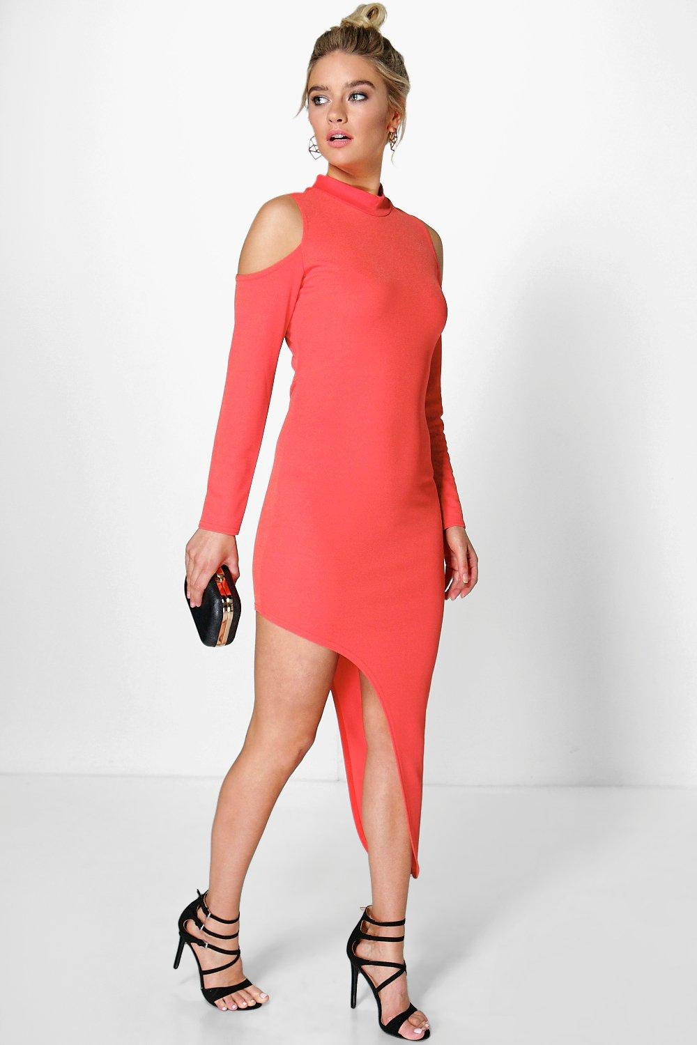 Jessie High Neck Asymmetric Bodycon Dress