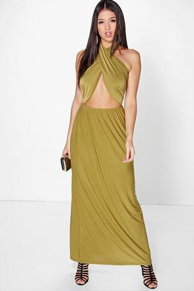 Cara Twist Front Halterneck Maxi Dress