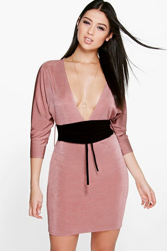 Aiko Obi Belt Bodycon Dress