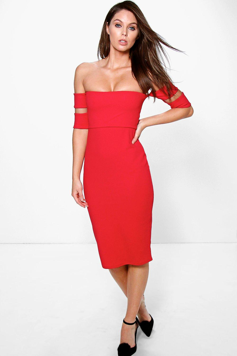 Ana Off The Shoulder Cut Out Midi Dress