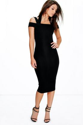 Maris Textured Strappy Detail Midi Dress