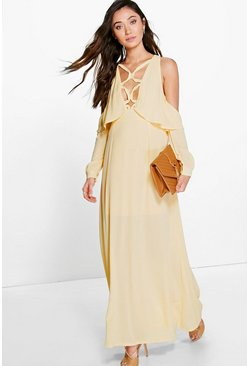 Anya Lace Up Detail Open Shoulder Maxi Dress