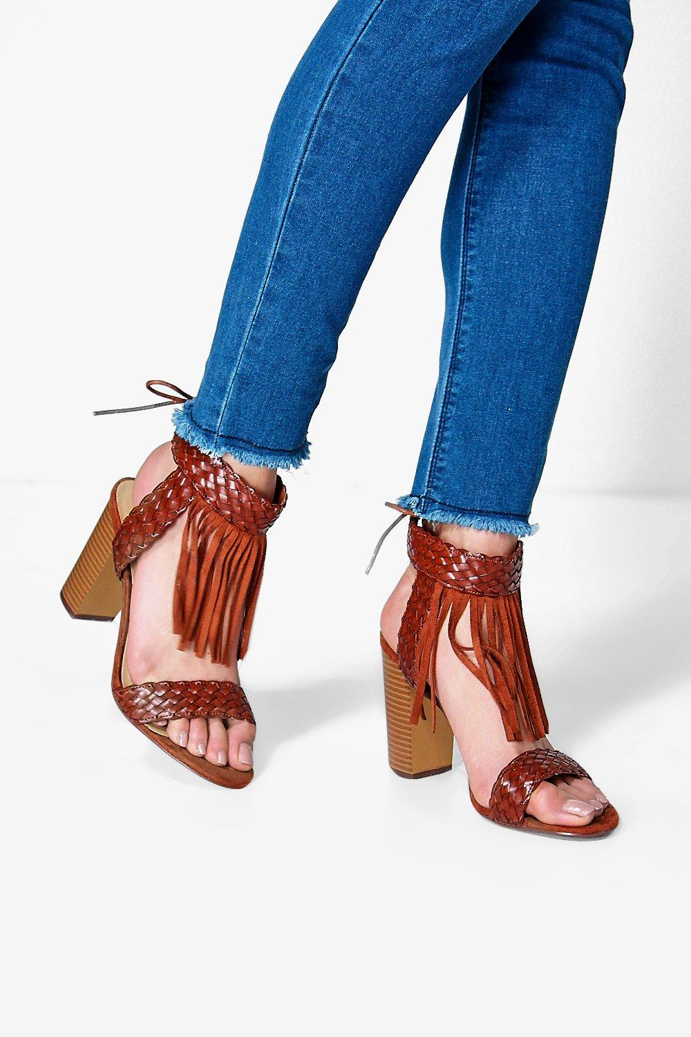Lacey Fringe And Plait Two Part Block Heel